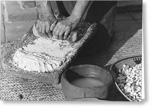 Indains Making Corn Flour Greeting Card by Underwood Archives Onia