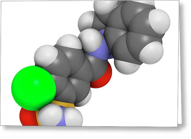 Indapamide Hypertension Drug Molecule Greeting Card by Molekuul