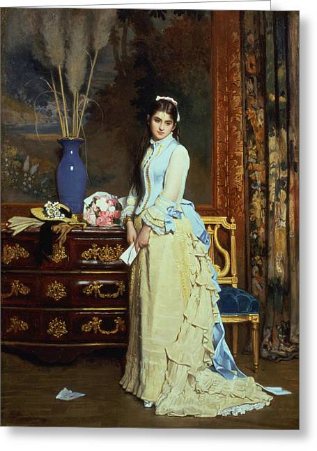 Indecision Oil On Panel Greeting Card by Charles Baugniet