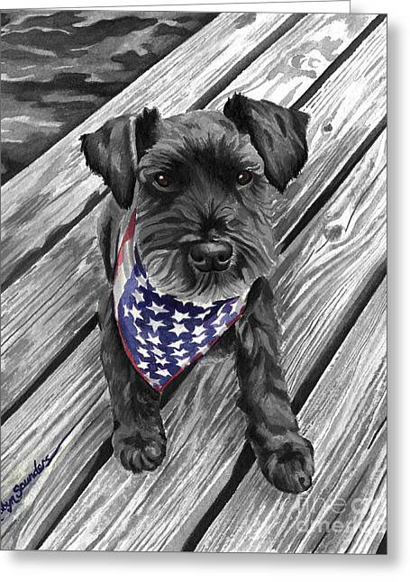 Watercolor Schnauzer Black Dog Greeting Card