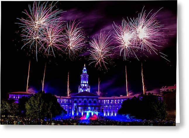 Independence Eve In Denver Colorado Greeting Card by Teri Virbickis