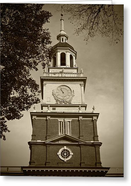 Independence Hall - Bw Greeting Card by Lou Ford