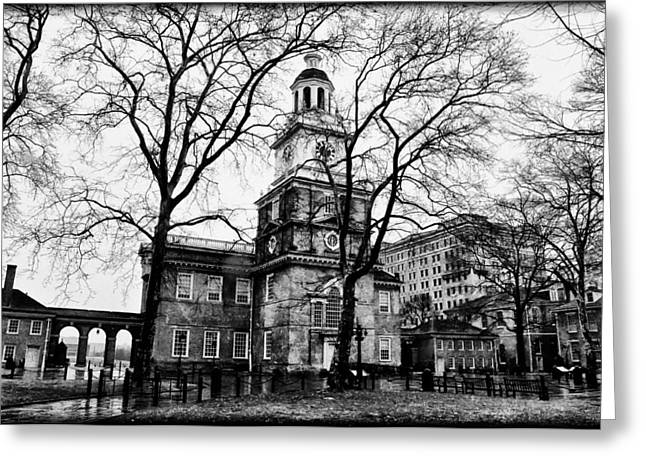 Independence Hall In Black And White Greeting Card