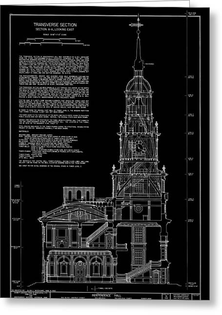 Independence Hall Transverse Section - Philadelphia Greeting Card by Daniel Hagerman