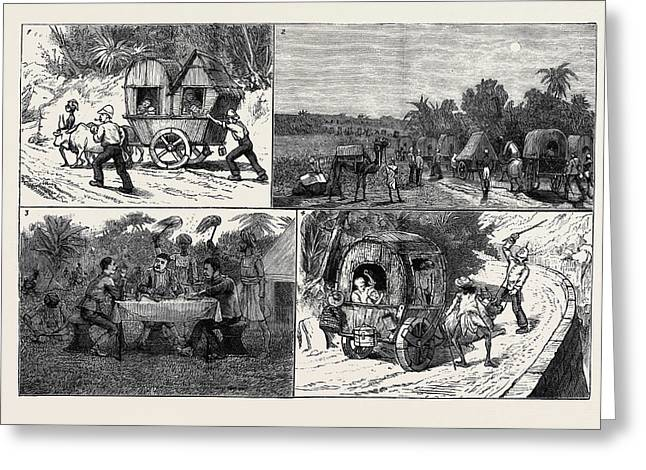 India, A March To A Hill Station With Invalids 1 Greeting Card by Indian School