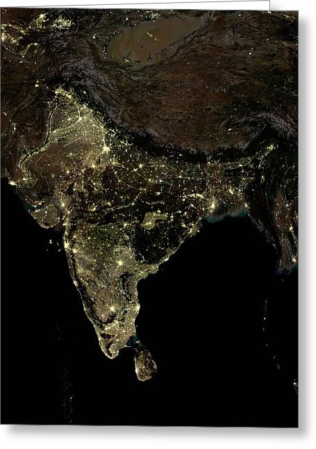 India At Night Greeting Card by Planetobserver