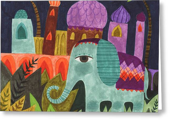 India Elephant Greeting Card by Kate Cosgrove