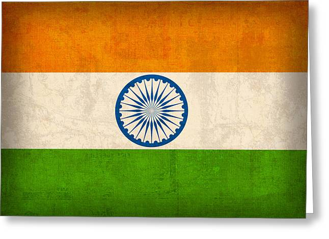 India Flag Vintage Distressed Finish Greeting Card by Design Turnpike