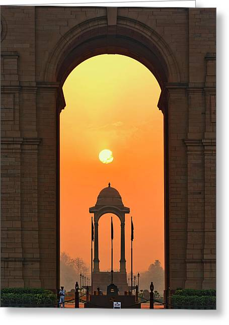 India Gate, A War Memorial In New Delhi Greeting Card by Adam Jones
