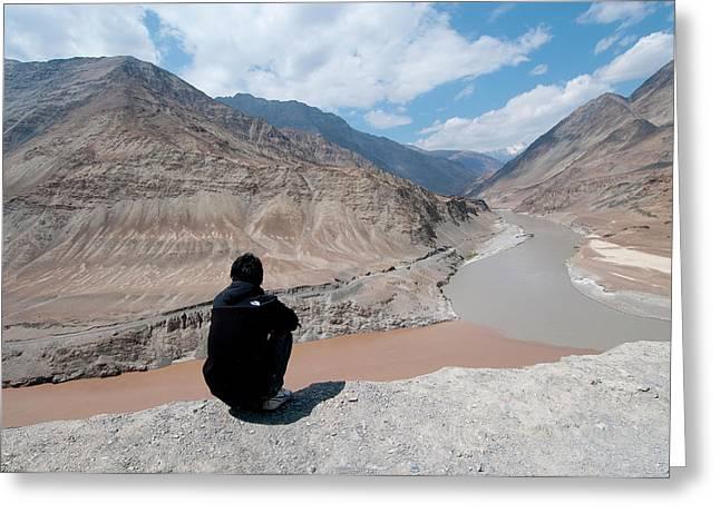 India, Jammu & Kashmir, Ladakh, Man Greeting Card by Ellen Clark
