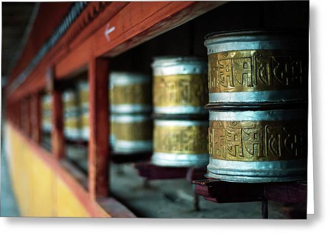 India, Ladakh, Hemis, Prayer Wheels Greeting Card by Anthony Asael