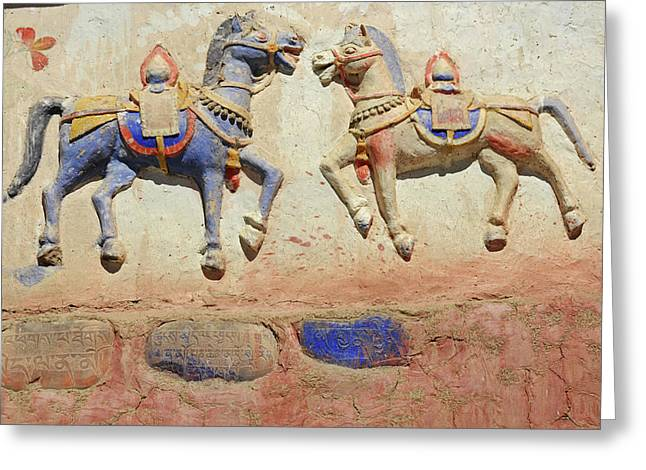 India, Ladakh, Thiksey, Indian Greeting Card by Anthony Asael