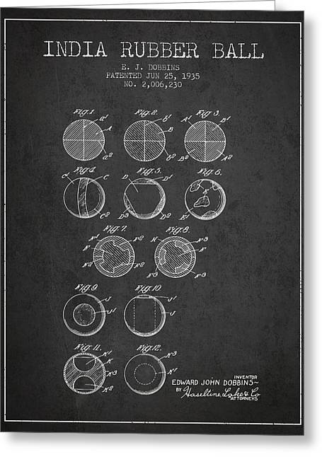 India Rubber Ball Patent From 1935 -  Charcoal Greeting Card by Aged Pixel