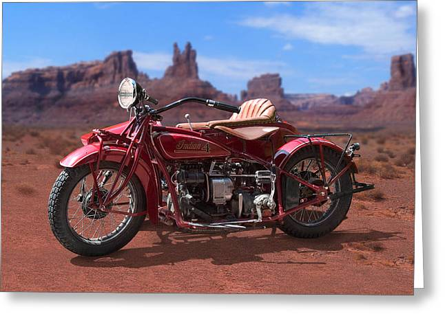 Indian 4 Sidecar 2 Greeting Card by Mike McGlothlen