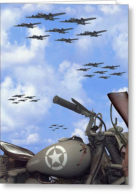 Indian 841 And The B-17 Panoramic Greeting Card by Mike McGlothlen
