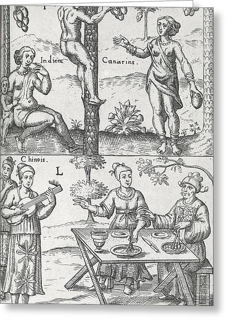 Indian And Chinese People, 17th Century Greeting Card by Science Photo Library
