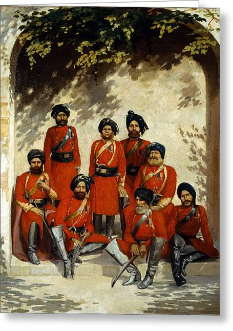 Indian Army Officers Greeting Card by Gordon Hayward