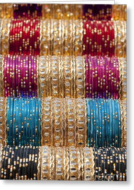 Indian Bangles Pattern Greeting Card by Tim Gainey