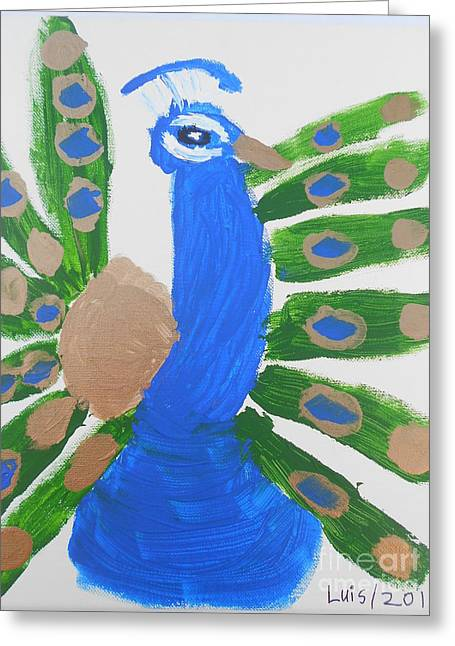 Indian Blue Peacock Greeting Card