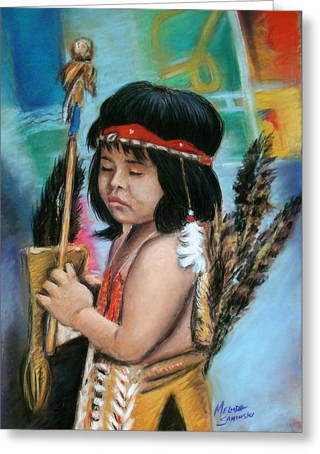 Greeting Card featuring the painting Indian Boy by Melinda Saminski