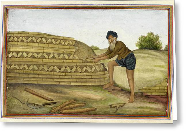Indian Brickmaker Greeting Card by British Library