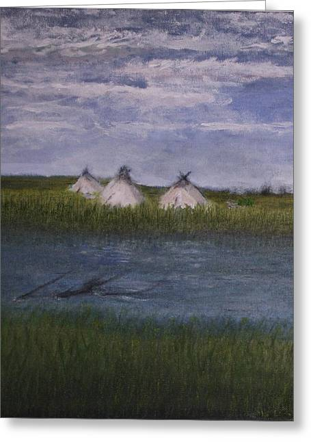Native American Camp Greeting Card by Larry Lamb