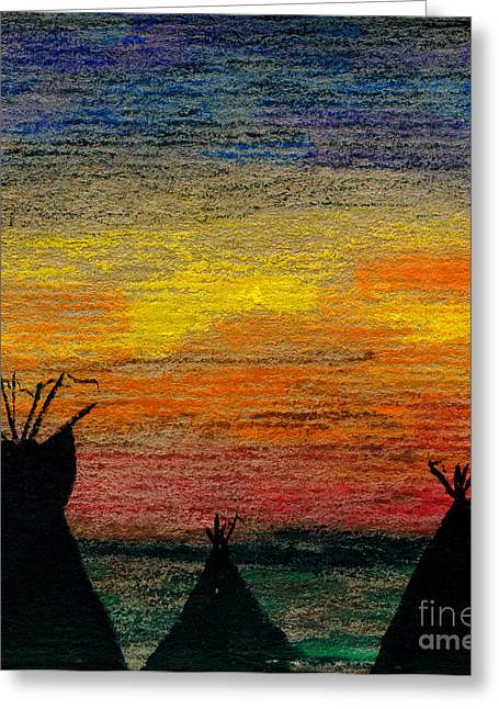 Indian Camp Greeting Card by R Kyllo