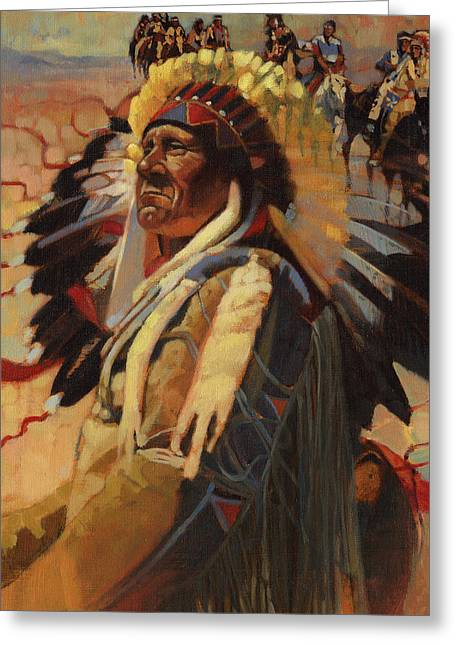 The Chief Indians On Horseback Greeting Card