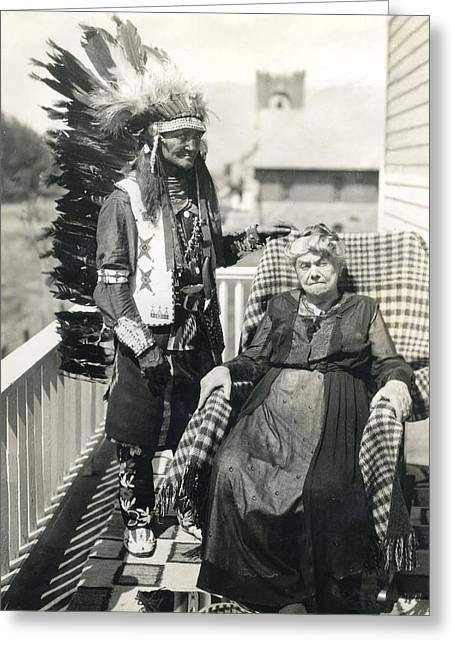 Greeting Card featuring the photograph Indian Chief And Woman by Charles Beeler