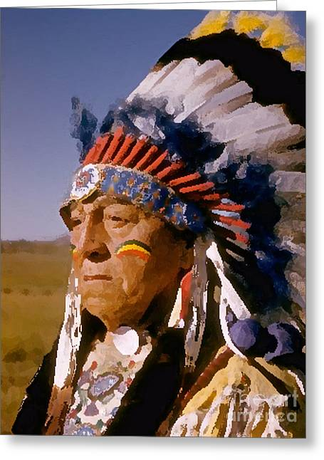 Indian Chief Painting Greeting Card by Marvin Blaine