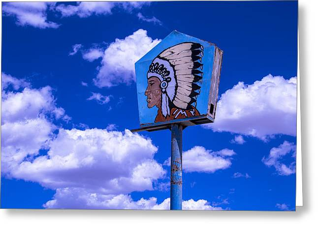 Indian Chief Sign In Clouds Greeting Card