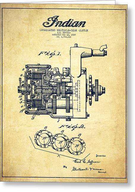Indian Disk Clutch Patent Drawing From 1929 - Vintage Greeting Card by Aged Pixel