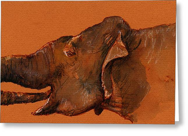 Indian Elephant Greeting Card by Juan  Bosco