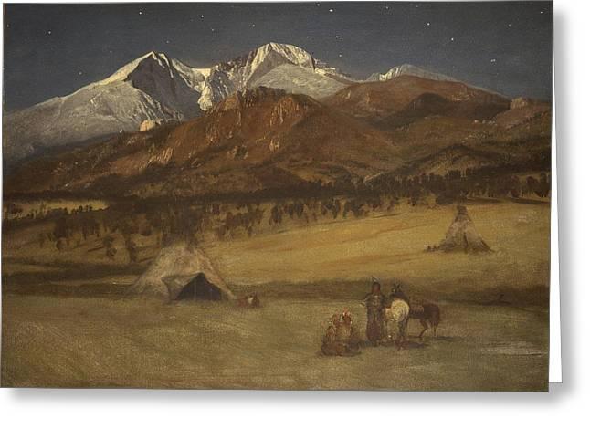 Indian Encampment - Evening Greeting Card by Albert Bierstadt