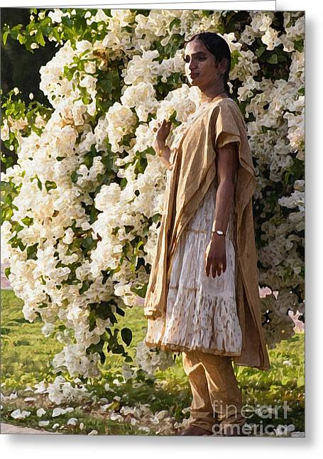 Indian Girl By The Flowery Tree Greeting Card