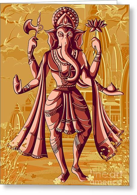 Indian God Ganpati In Blessing Posture Greeting Card