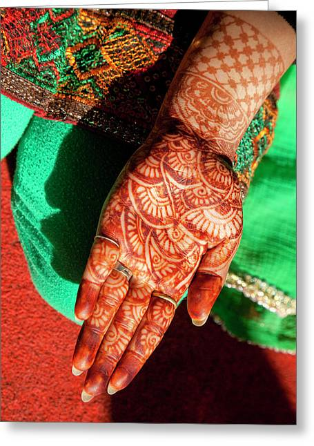 Indian Henna Tattoo Design On Hand Greeting Card