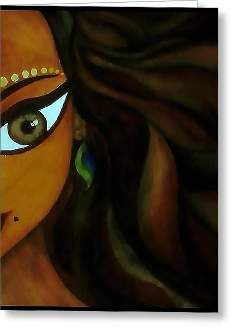 Indian Lady  Greeting Card by Sivaanan Balachandran