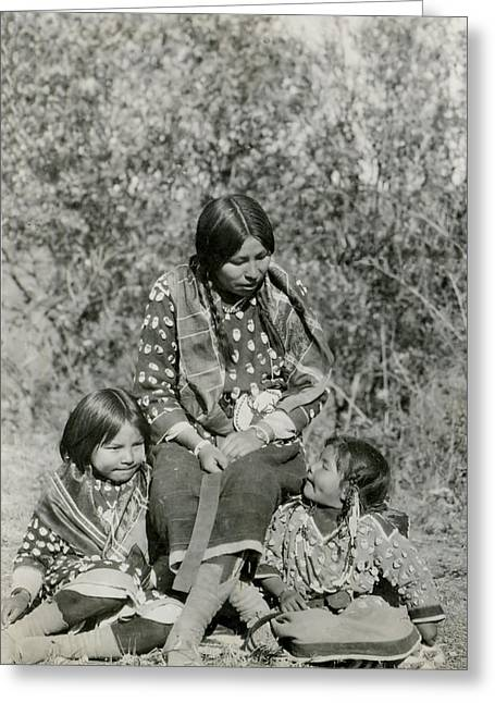 Greeting Card featuring the photograph Indian Mother With Daughters by Charles Beeler