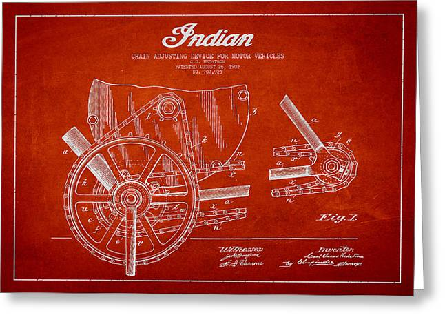 Indian Motorcycle Patent From 1902 Greeting Card by Aged Pixel