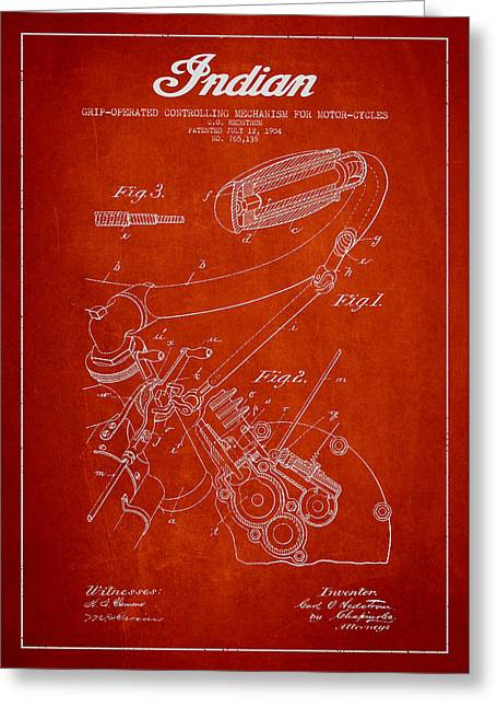 Indian Motorcycle Patent From 1904 - Red Greeting Card by Aged Pixel