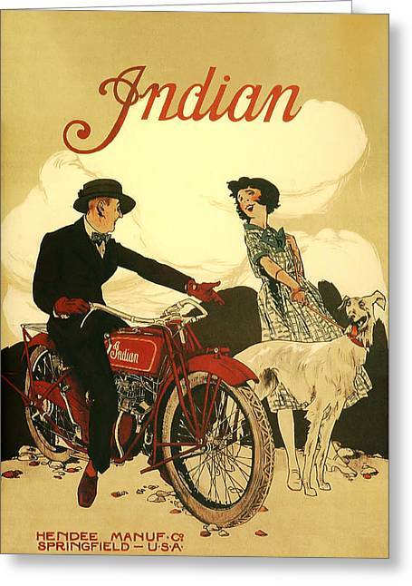 Indian Motorcycle Poster Greeting Card by Bill Cannon