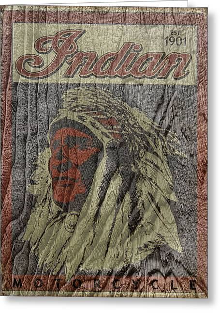 Indian Motorcycle Postertextured Greeting Card