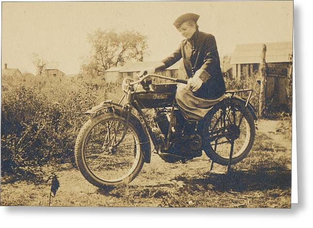 Greeting Card featuring the photograph Indian Motorcycle Woman Rider by Paul Ashby Antique Images