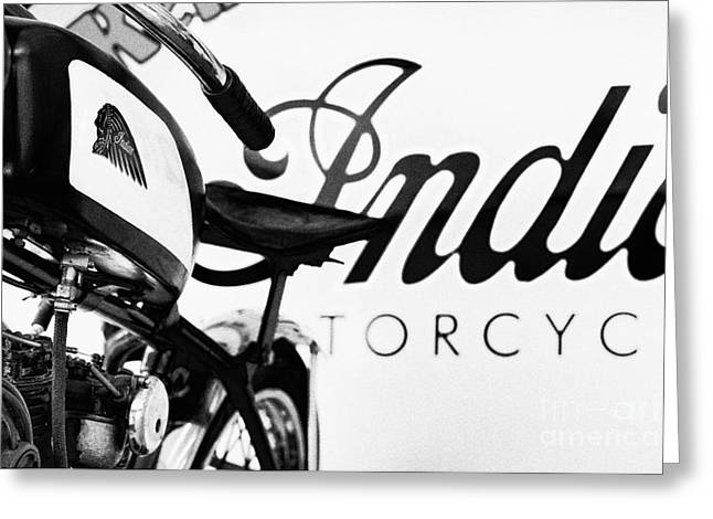 Indian Motorcycles Monochrome Greeting Card by Tim Gainey