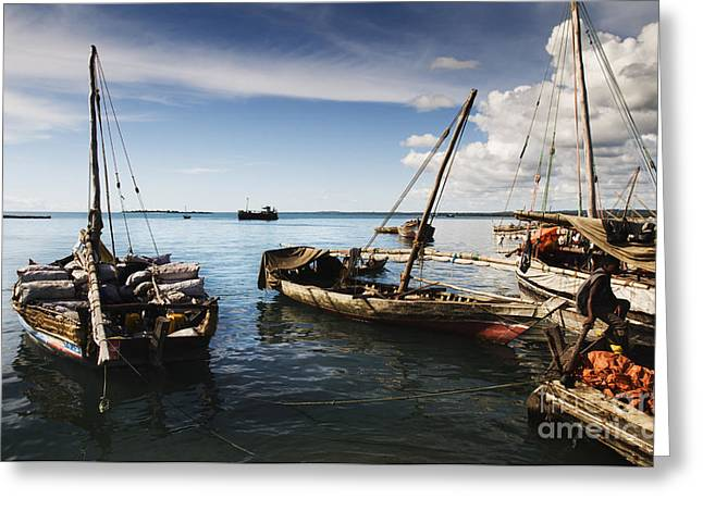 Greeting Card featuring the photograph Indian Ocean Dhow At Stone Town Port by Amyn Nasser