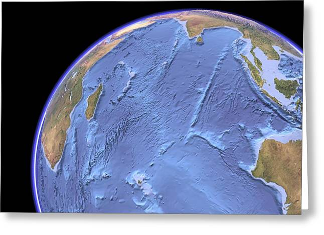 Indian Ocean, Sea Floor Topography Greeting Card by Science Photo Library