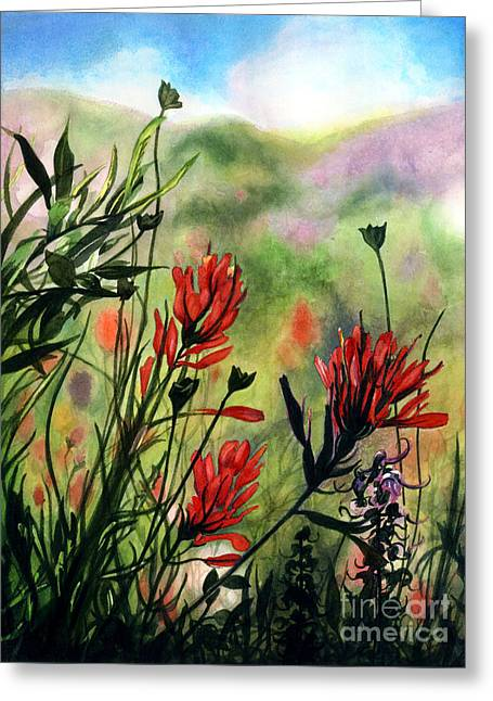 Indian Paint Brush Greeting Card by Barbara Jewell