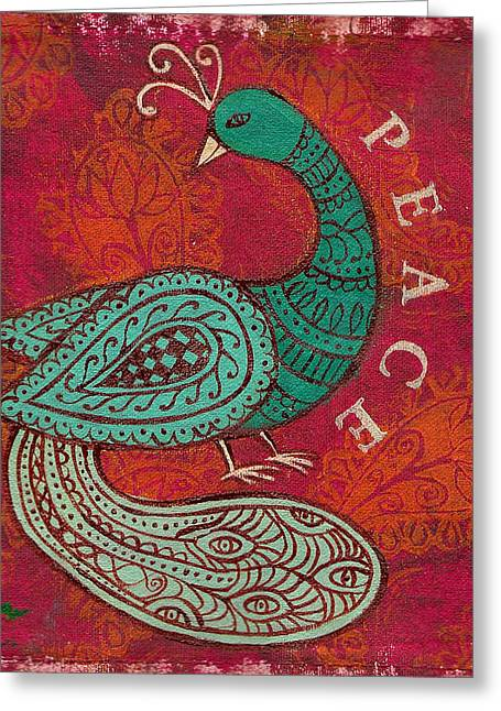 Indian Peacock Greeting Card by Jennifer Mazzucco