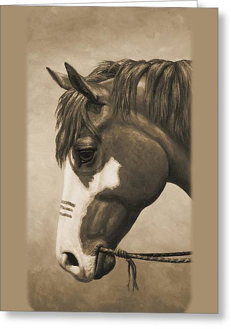Indian Pony War Horse Sepia Phone Case Greeting Card by Crista Forest